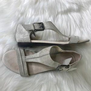 Donald J. Pliner Shoes - DONALD J. PLINER Gray metallic flat sandals.